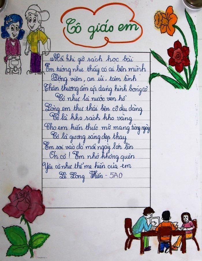 Bài thơ hay về cô giáo chủ nhiệm hay